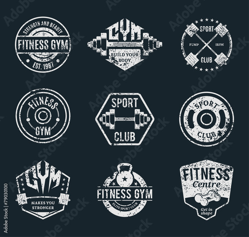 Fototapeta Vector Grungy Gym and Fitness Logo, Labels and Athletic Badges