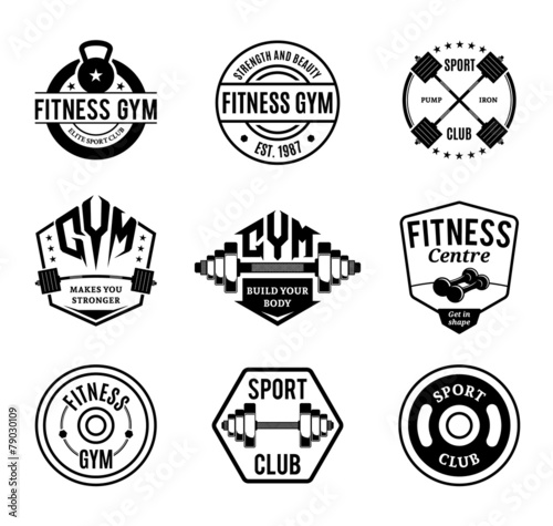 Fototapeta Vector Black and White Gym and Fitness Logo, Labels and Badges