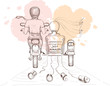 Graphics vector illustration -- bride and groom on a motorcycle - 79030319