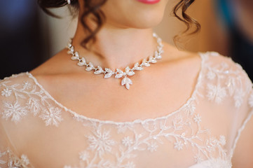 a woman's neck line on her wedding day