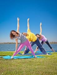 Tree people practice Yoga asana on lakeside. Yoga concept.