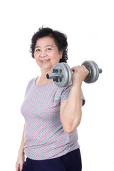 Asian strong senior woman lifting weights, isolated on white bac