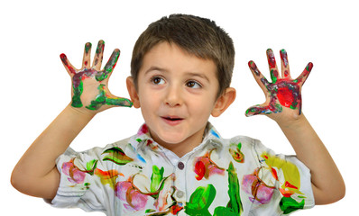Hands in paint
