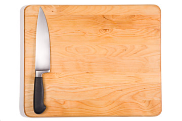 Steak: Knife on Isolated Cutting Board