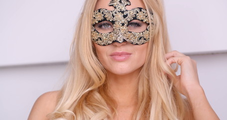 Gorgeous Topless Blond Woman in Carnival Mask