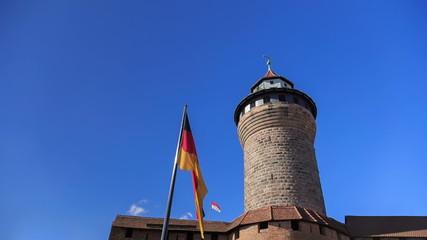 Nuremberg Castle (Sinwell tower) with blue sky