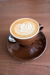 Hot coffee with latte art