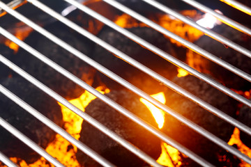 Hot glowing charcoal in a barbecue