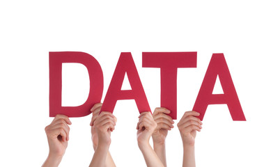 Many People Hands Holding Red Straight Word Data