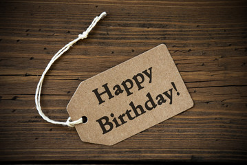 Close Up Of Label With Text Happy Birthday