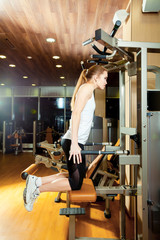 Gym triceps dips exercise workout woman indoor