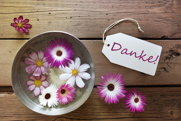Silver Bowl With Cosmea Blossoms With German Text Danke