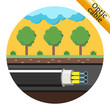 Optical cable laid underground. Vector illustration - 79034134