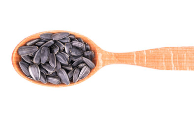 Sunflower seeds in a spoon