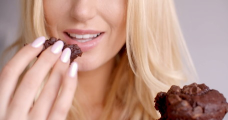 Female Hand Holding a Piece of Chocolate Cupcake