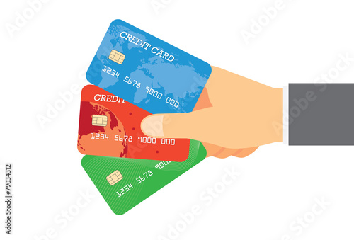 Holding three credit card in one hand - 79034312