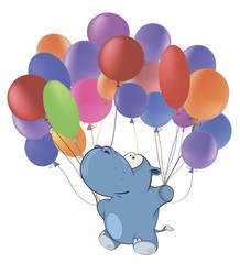 Little hippopotamus and multicolored balloons. Cartoon