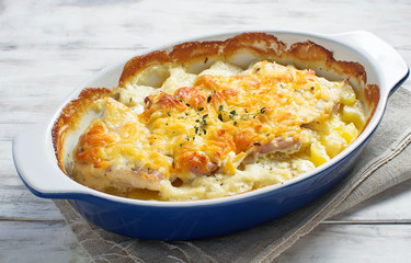 Baked meat with potatoes and cheese