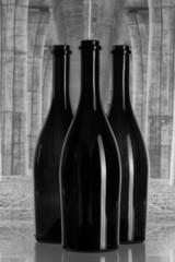 Three wine bottles under the highway bridge