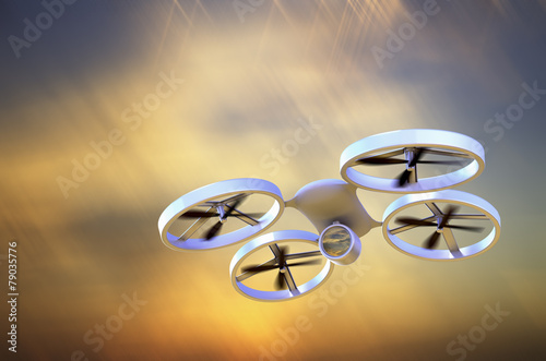 Unmanned Aerial Vehicle drone in flight - 79035776