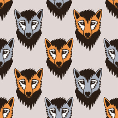 Seamless vector pattern with wolf and fox. Cartoon characters