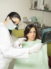 The patient, the dentist and x-ray image