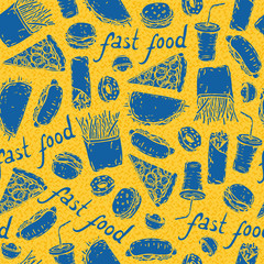 Fast Food. Yellow pattern