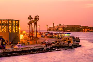 Romantic sunset in Old Havana