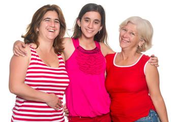 Family of hispanic women isolated on a white background