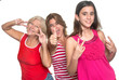 Family of hispanic women having fun isolated on white
