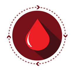 Modern flat blood icon with long shadow effect