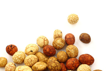 japanese nuts on a white background