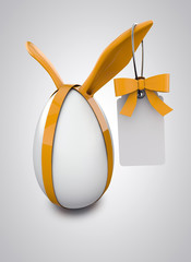 Easter Egg with rabbit ears and tag and ribbon