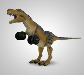 T-Rex lifting weights
