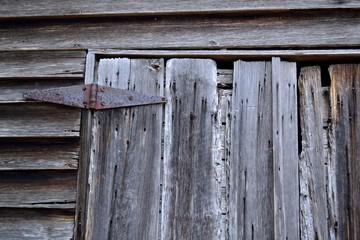 Rustic Old Clapboard Wooden Door, Rusted Hinge