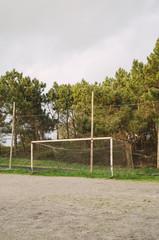 Abandoned soccer goal