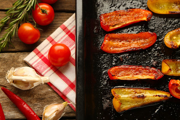 Composition with roasted sliced pepper