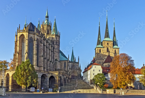 Tuinposter Centraal Europa Erfurt Cathedral and Severikirche,Germany