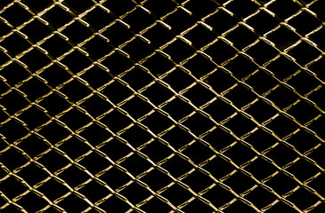 abstract background of dark gold metal net texture