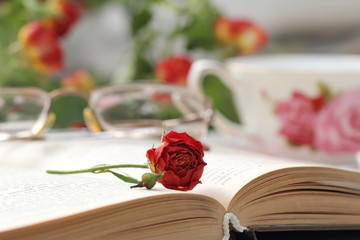 Still life with tea, books and roses
