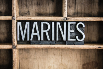 Marines Concept Metal Letterpress Word in Drawer