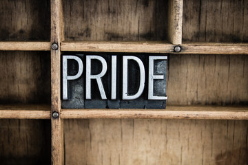 Pride Concept Metal Letterpress Word in Drawer
