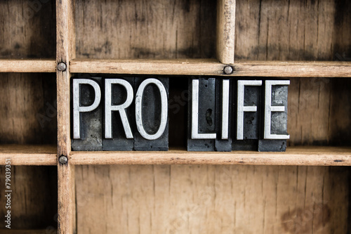 Poster Pro Life Concept Metal Letterpress Word in Drawer