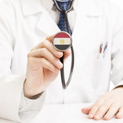 Doctor holding stethoscope with flag series - Egypt
