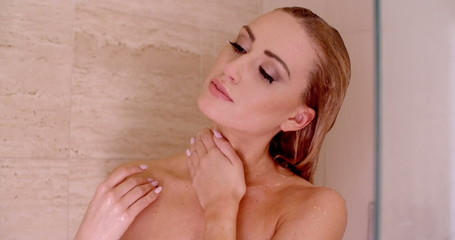 Close up Sensual Naked Young Woman Under a Shower