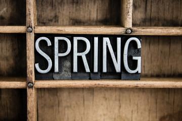 Spring Concept Metal Letterpress Word in Drawer
