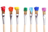 Fototapety Brushes with colorful paints, isolated on white