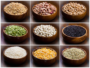collage of different type of legumes isolated on wood
