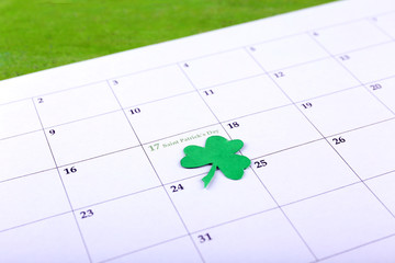 St. Patrick Date on calendar close-up