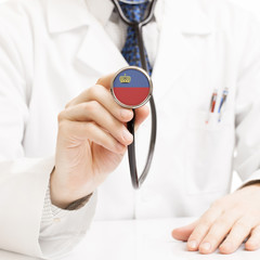 Doctor holding stethoscope with flag series - Liechtenstein